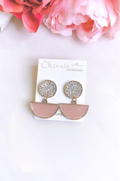 Gold Glitter Half Circle Pink Earrings