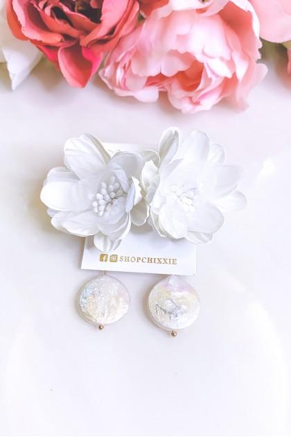 Flower Circle Drop Earrings