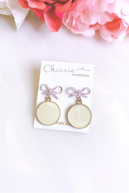 Pink Ribbon Circle Drop Earrings