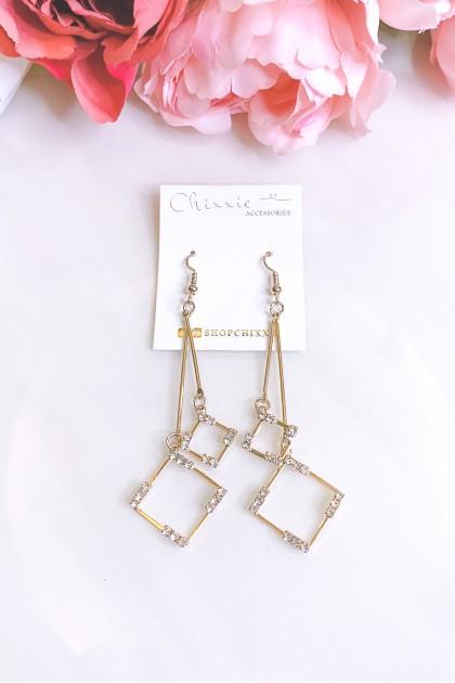 Gold Diamante Diamond Cut Drop Earrings