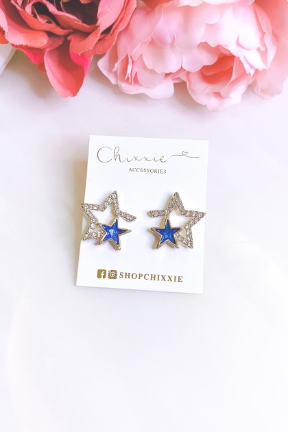 Gold Diamante and Blue Star Earrings