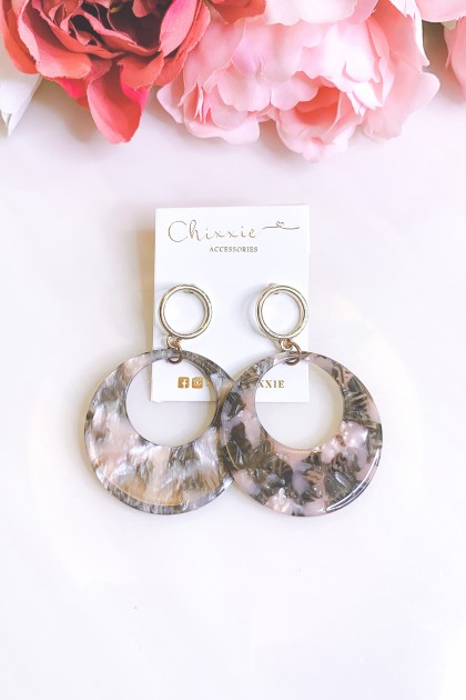 Mixed Marble Circle Plate Earrings