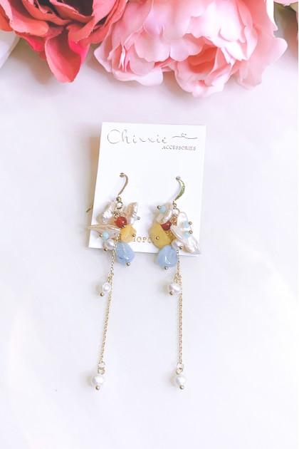 Colourful Beads Chain Pearl Drop Earrings