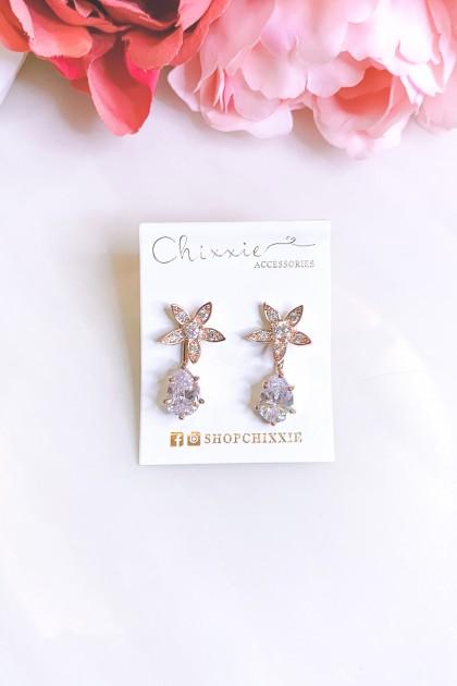 Gold Diamante Flower with Teardrop Earrings