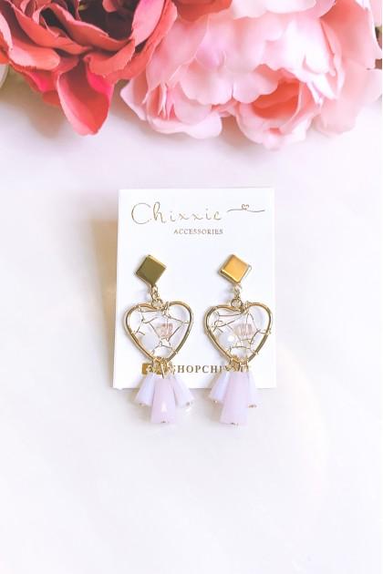 Gold Heart Beads Drop Earrings
