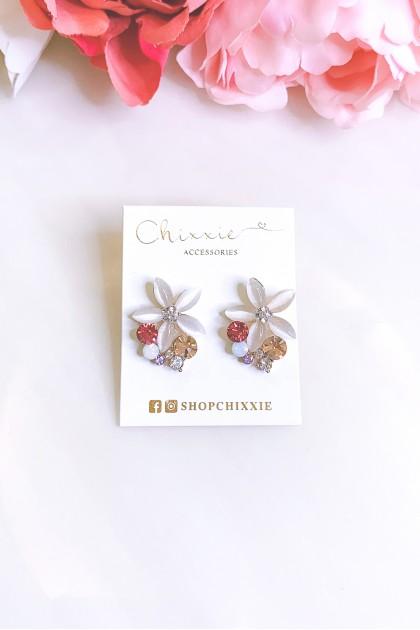 Colourful Flower Diamante Earrings
