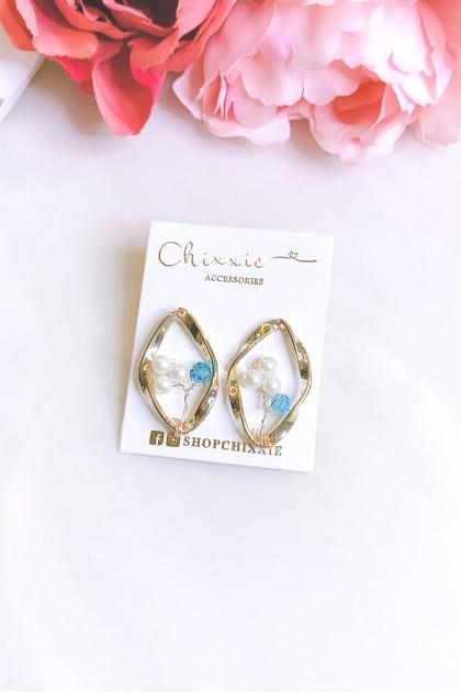 Gold Diamond Cut Pearl Beads Earrings