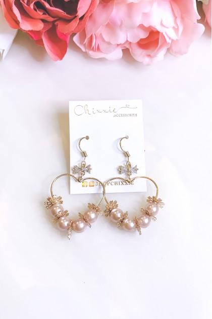 Gold Heart Shaped Flower Pearl Drop Earrings
