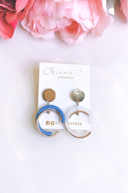 Gold with Blue C Shape Earrings