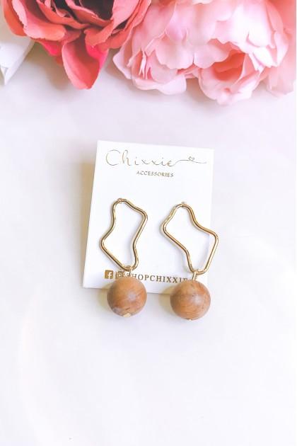Gold Wooden Ball Drop Earrings