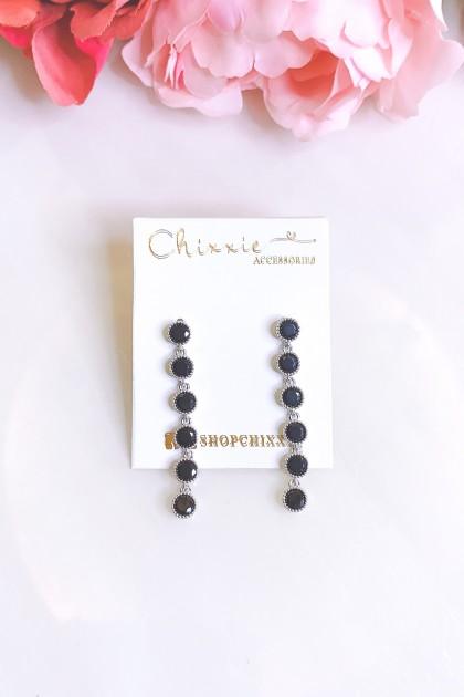 Silver Black Beads Drop Earrings