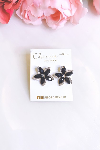 Black Diamante Flower Earrings