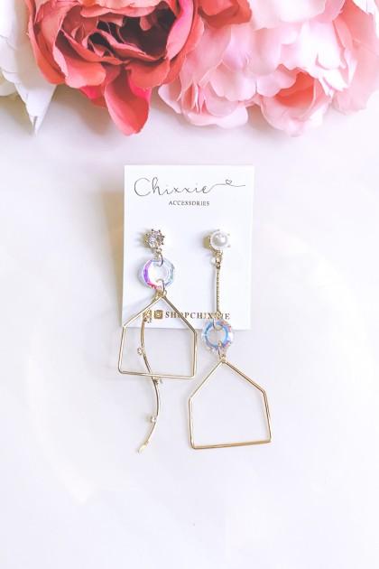 Gold Geometric Chrome Diamante Pearl Earrings