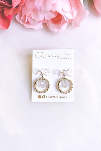 Gold Circle Ribbon Bead Earrings
