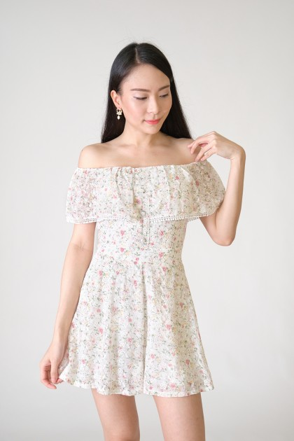 Chixxie Penelope Off-Shoulder Playsuit in White