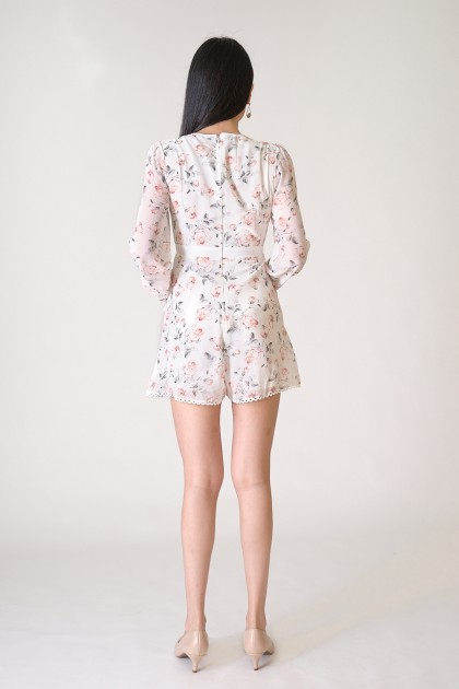 Chixxie Bella Floral Playsuit in White