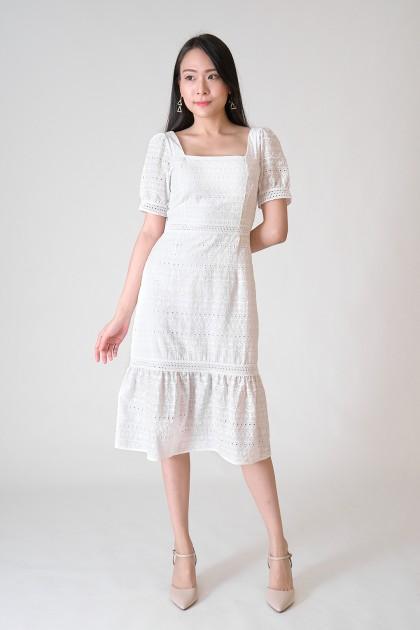 Chixxie Madison Lace Midi Dress in White
