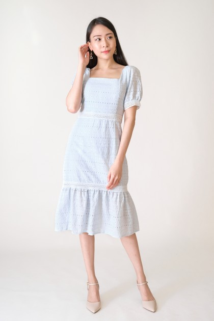 Chixxie Madison Lace Midi Dress in Blue