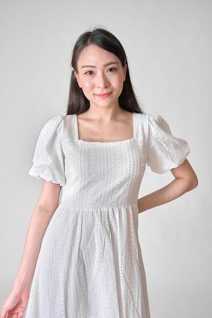 Chixxie Chloe Puffy Lace Dress in White