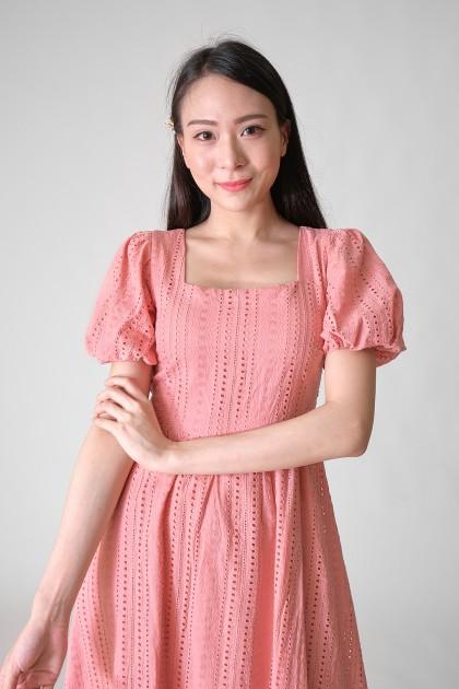 Chixxie Chloe Puffy Lace Dress in Pink