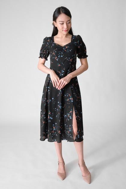Chixxie Violet Floral Midi Dress in Black
