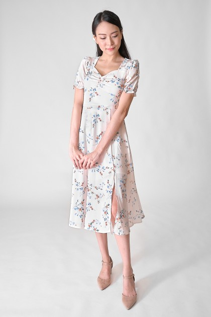 Chixxie Violet Floral Midi Dress in White