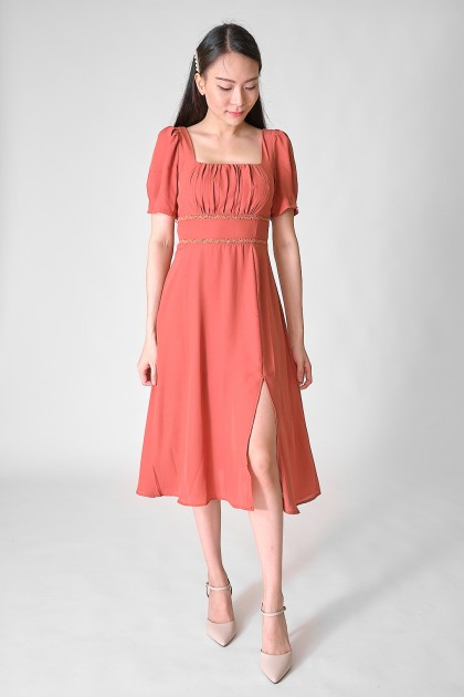 Chixxie Millie Midi Dress in Coral