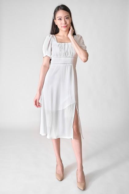Chixxie Millie Midi Dress in White